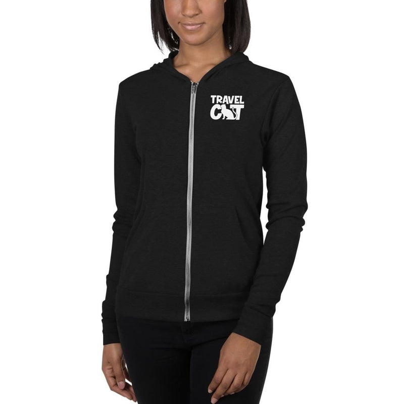 Travel Cat Unisex zip hoodie