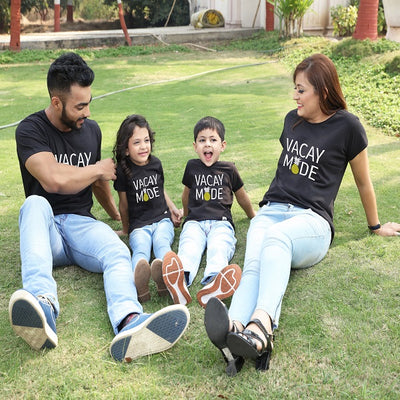 Vacay mode family  matching black tees