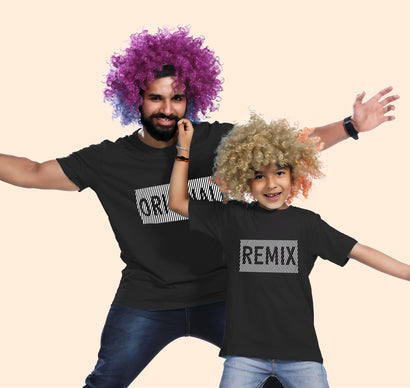 Original and remix black matching t-shirt