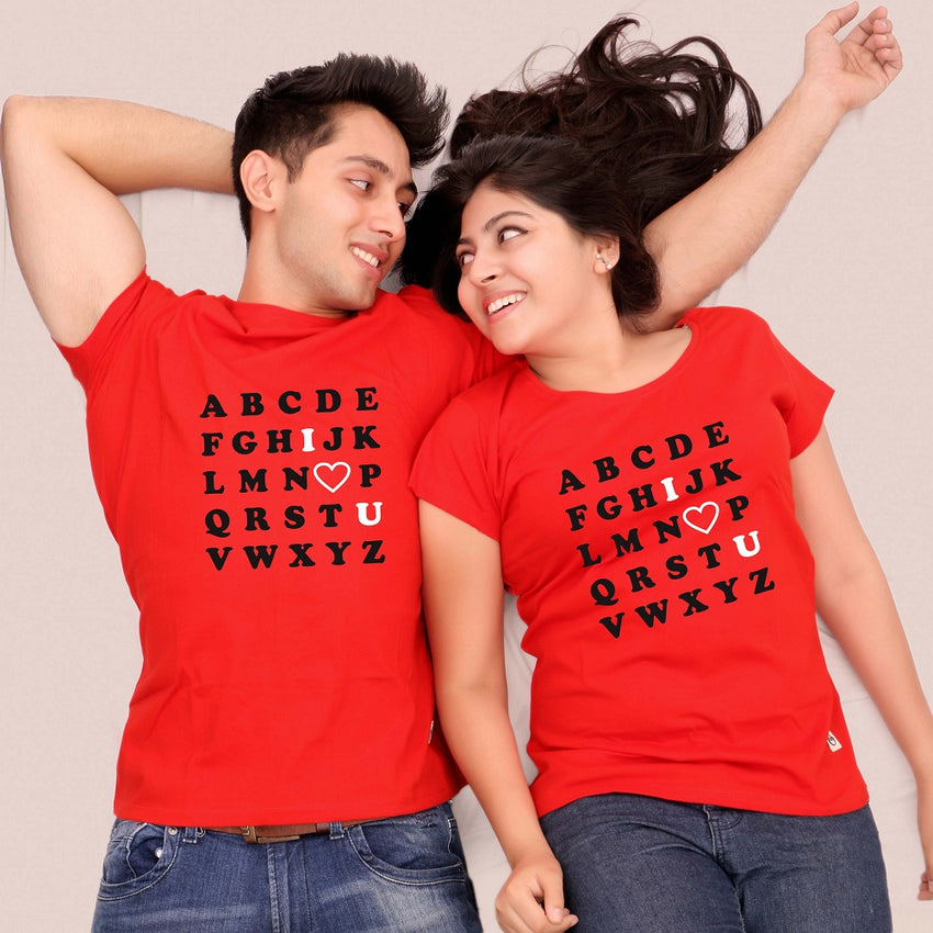 Couple wearing red tshirts