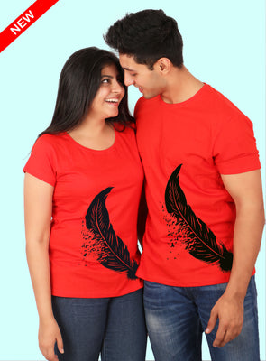 Feather Matching Red and Black Tees