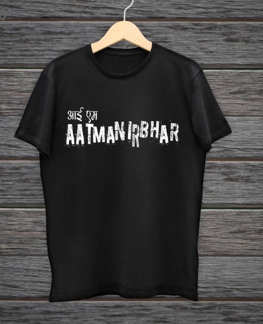 I am aatmanirbnhar black & white man tees