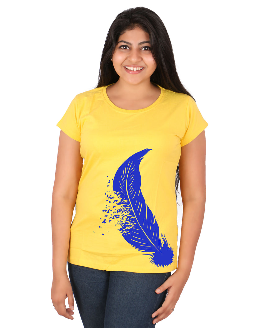 Feather yellow and blue women