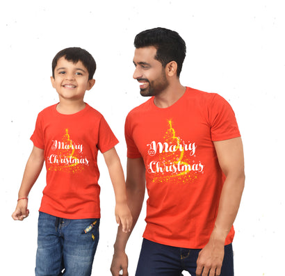 Marry Christmas,matching dad-son tees