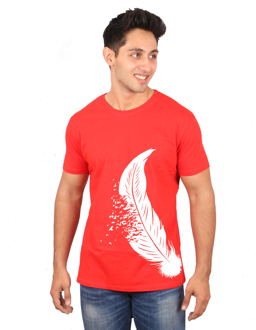 red-white feather  men t-shirt