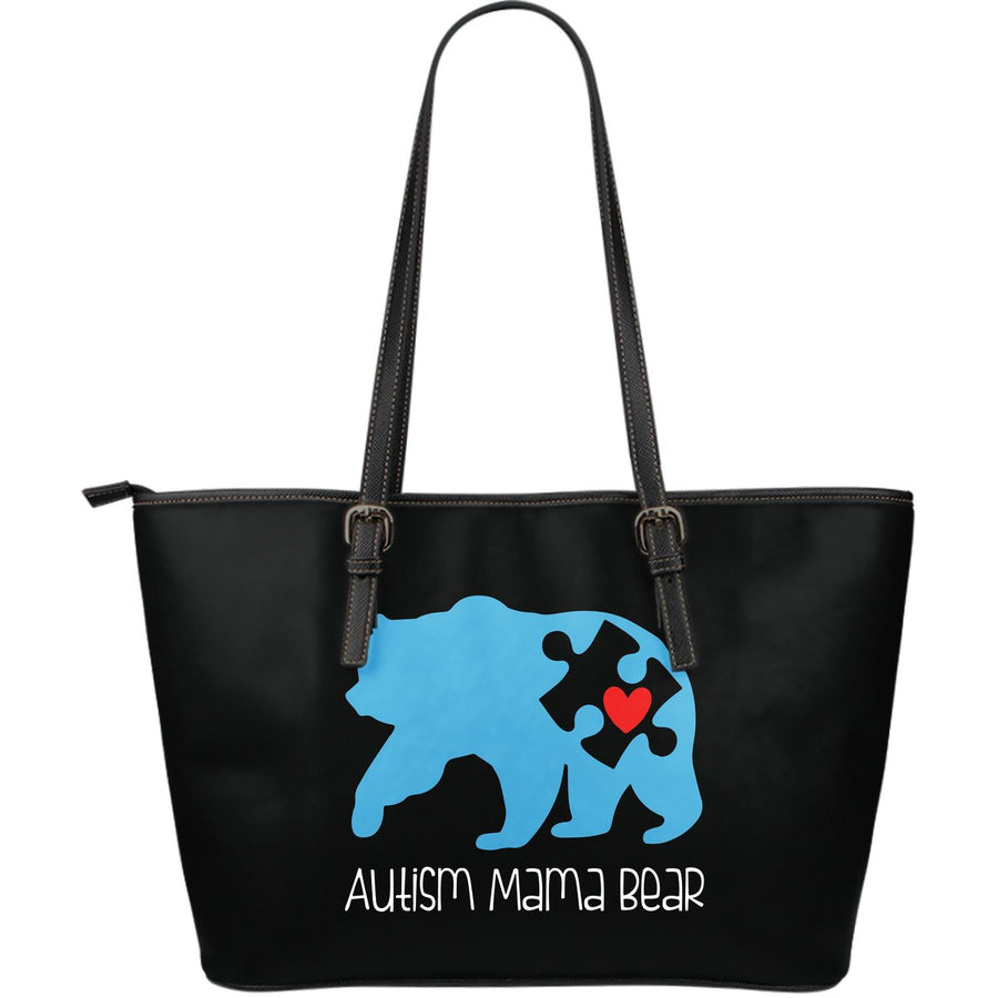 Autism Mama Bear Leather Tote Bag (Large)
