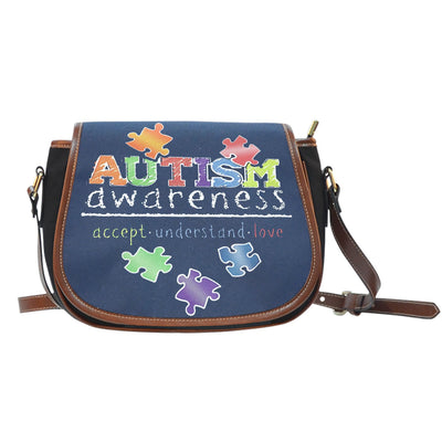 Accept Understand Love Canvass/Leather Saddle Bag - Autism Awareness