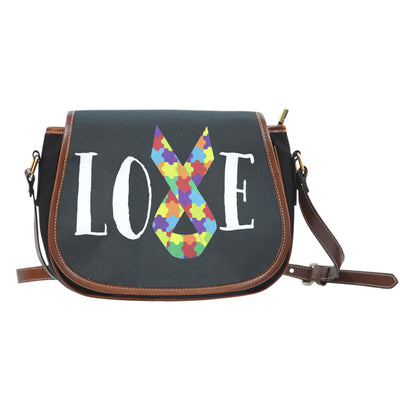 Autism Love Ribbon Canvass/Leather Saddle Bag