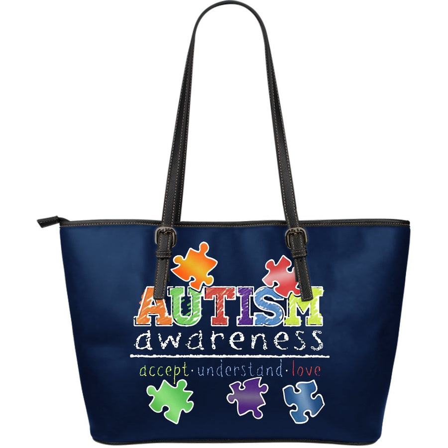 Accept Understand Love Autism Leather Tote Bag (Large) - Black