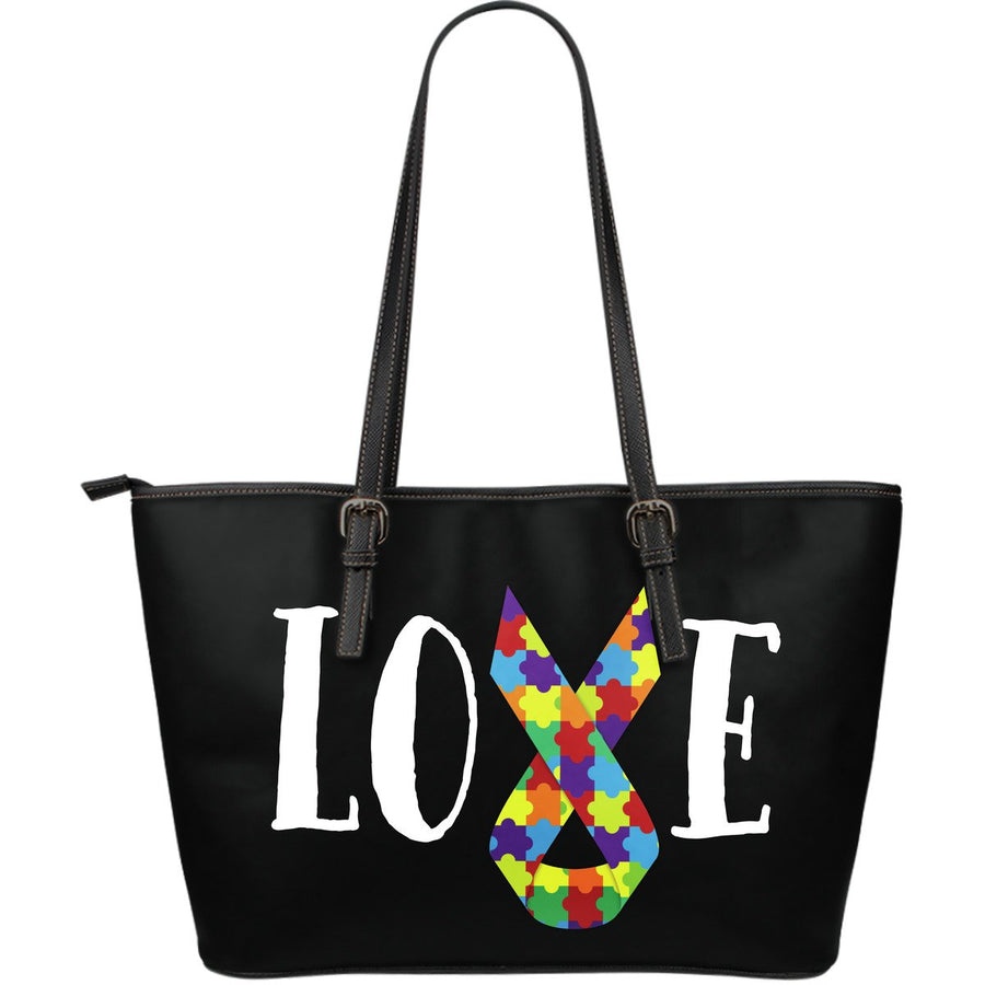Autism Love Ribbon Leather Tote Bag