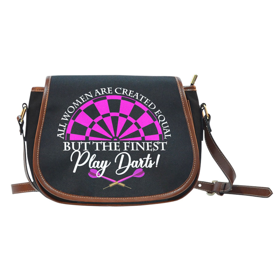 All Women Are Created Equal But The Finest Play Darts Canvas/Leather Saddle Bag