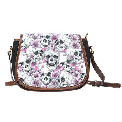 Skulls with Pink Flowers Canvas/Leather Saddle Bag