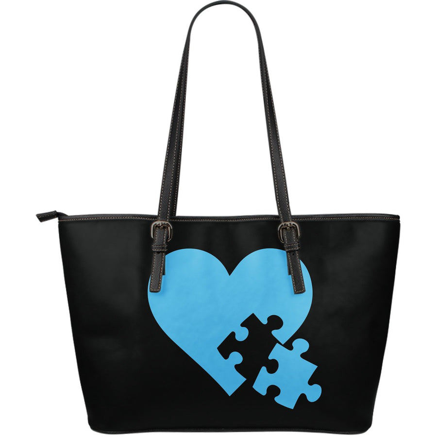 Heart with Puzzle Piece Autism Leather Tote Bag (Large) - Black