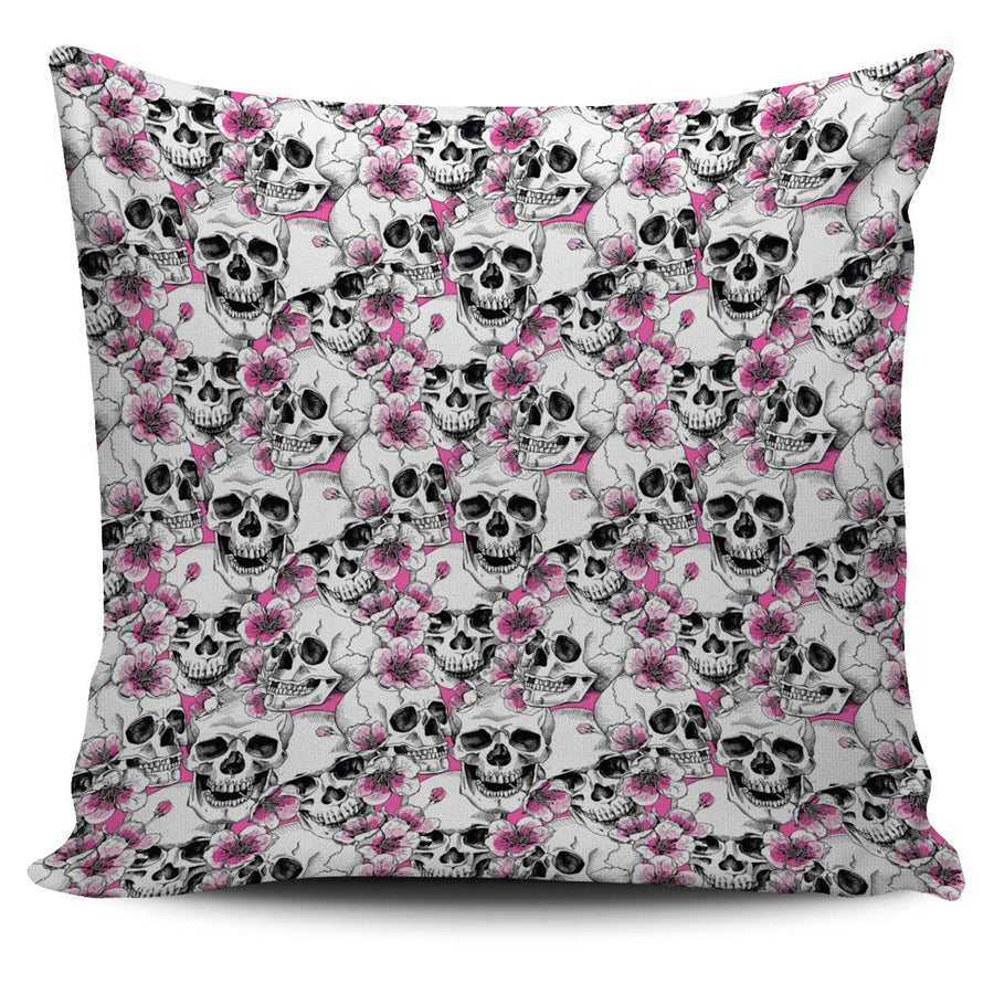Skulls with Pink Flowers Pillow Covers