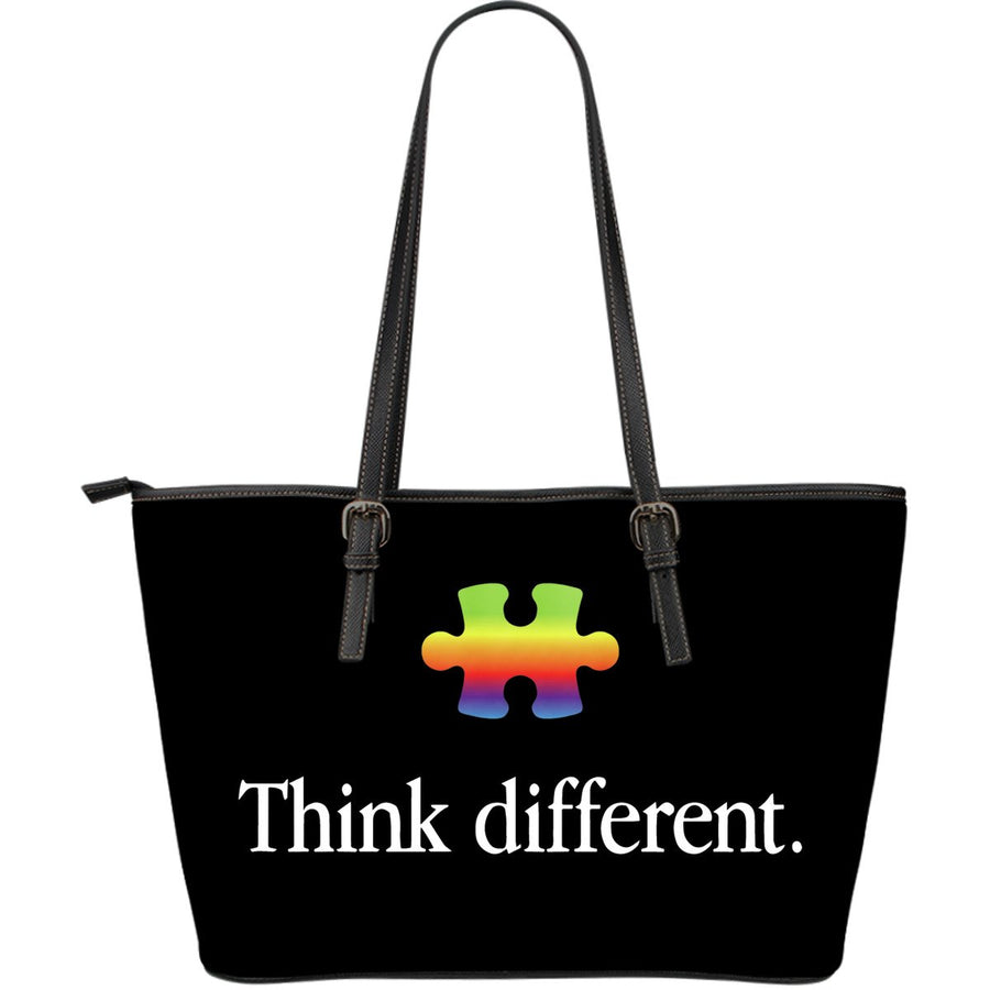 Think Different Autism Leather Tote Bag (Large) - Black