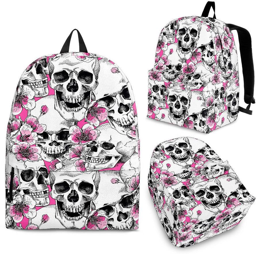 Skulls with Pink Flowers Backpack