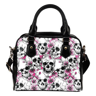 Skulls with Pink Flowers Shoulder Bag