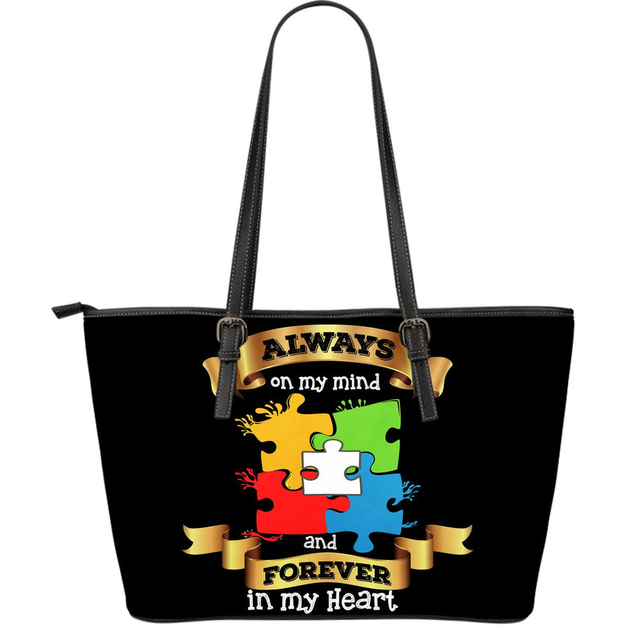 Always On My Mind Forever in my Heart Large Leather Tote Bag - Autism