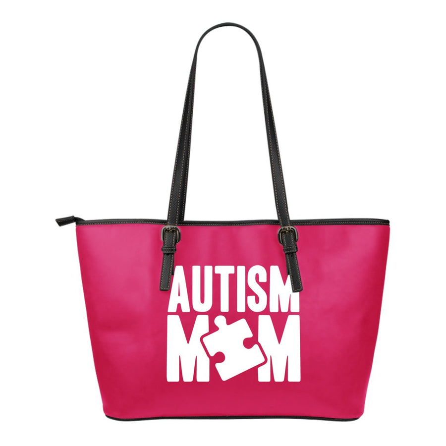 Autism Mom in Pink Leather Tote Bag (Small)