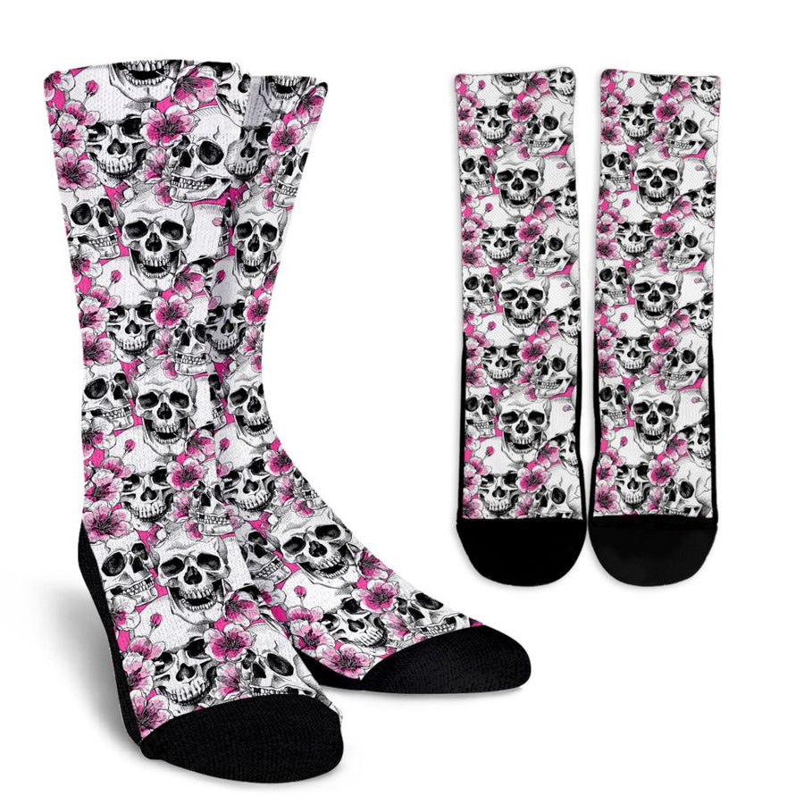 Skulls with Pink Flowers Crew Socks