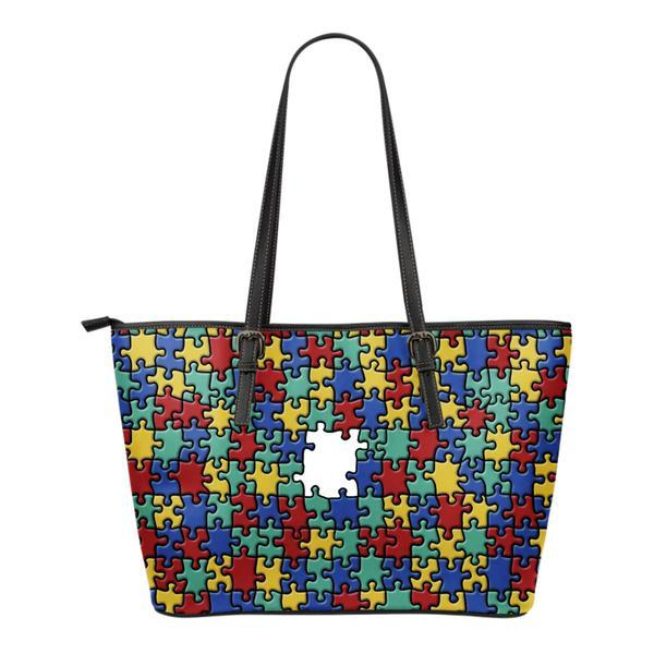 Autism Colorful Puzzle Leather Tote Bag