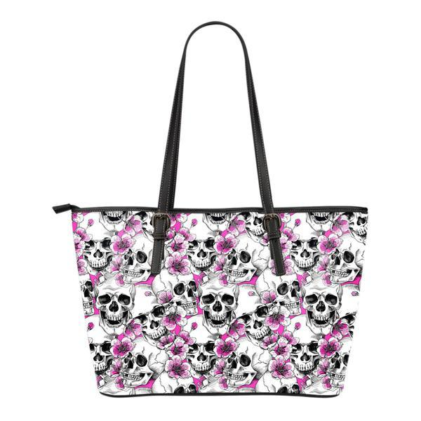 Skulls with Pink Flowers Leather Tote Bag