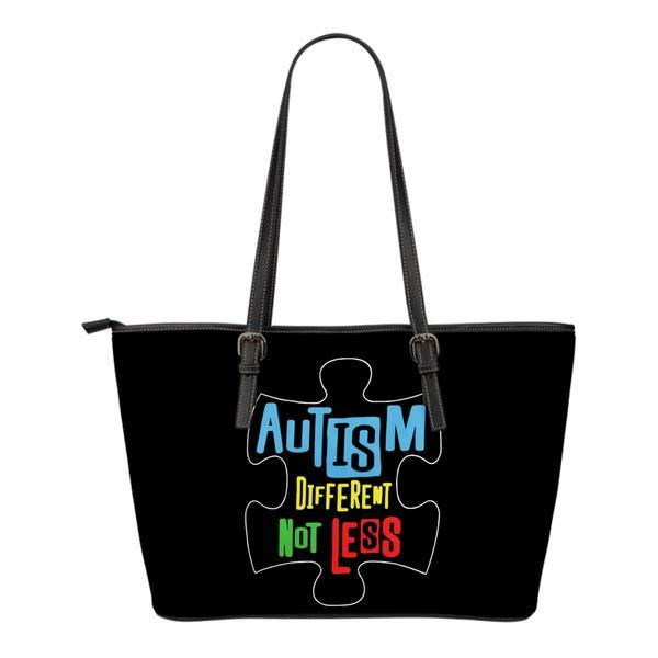 Autism Different Not Less Inside Puzzle Leather Tote Bag