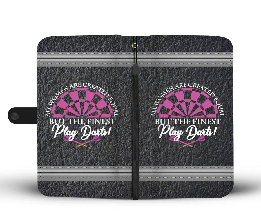 All Women Are Created Equal But The Finest Play Darts - Dark Concrete Phone Wallet Case