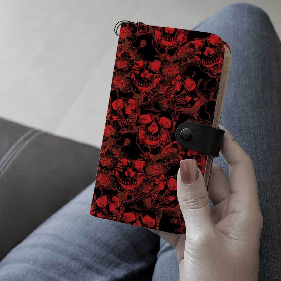 Skulls in Red and Black RFID-Blocking Phone Wallet Case