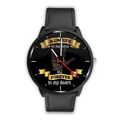 ASL Always on my Mind, Forever in my Heart Watch - Black
