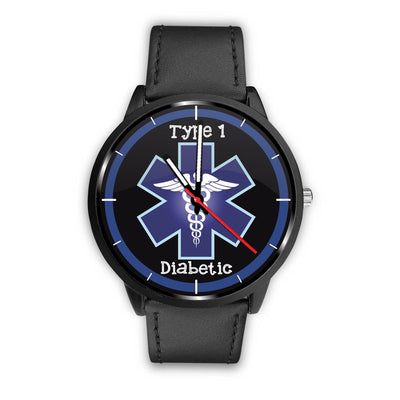 Type 1 Diabetic with Caduceus and Blue Medical Alert Watch