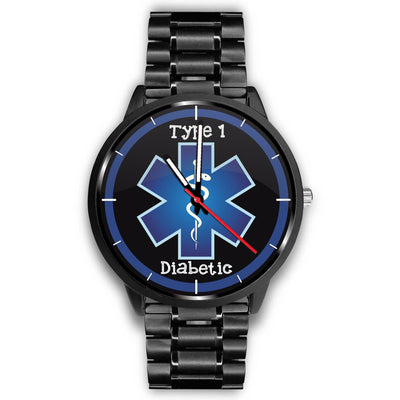 Type 1 Diabetic with Rod of Asclepius and Blue Medical Alert Watch