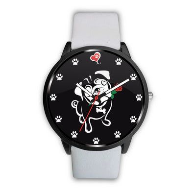 Awesome Pug Lover with Paw Prints, Rose and Heart Watch