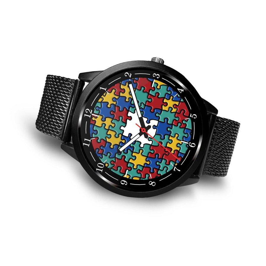 Awesome Autism Colorful Puzzle with Numbers Premium Watch