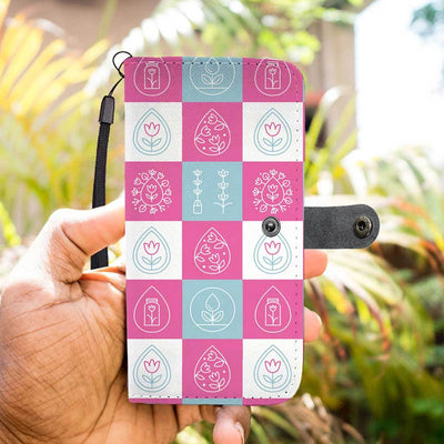 Essential Oils Design-Inspired Mobile Phone Wallet Case -Pink And White Pattern