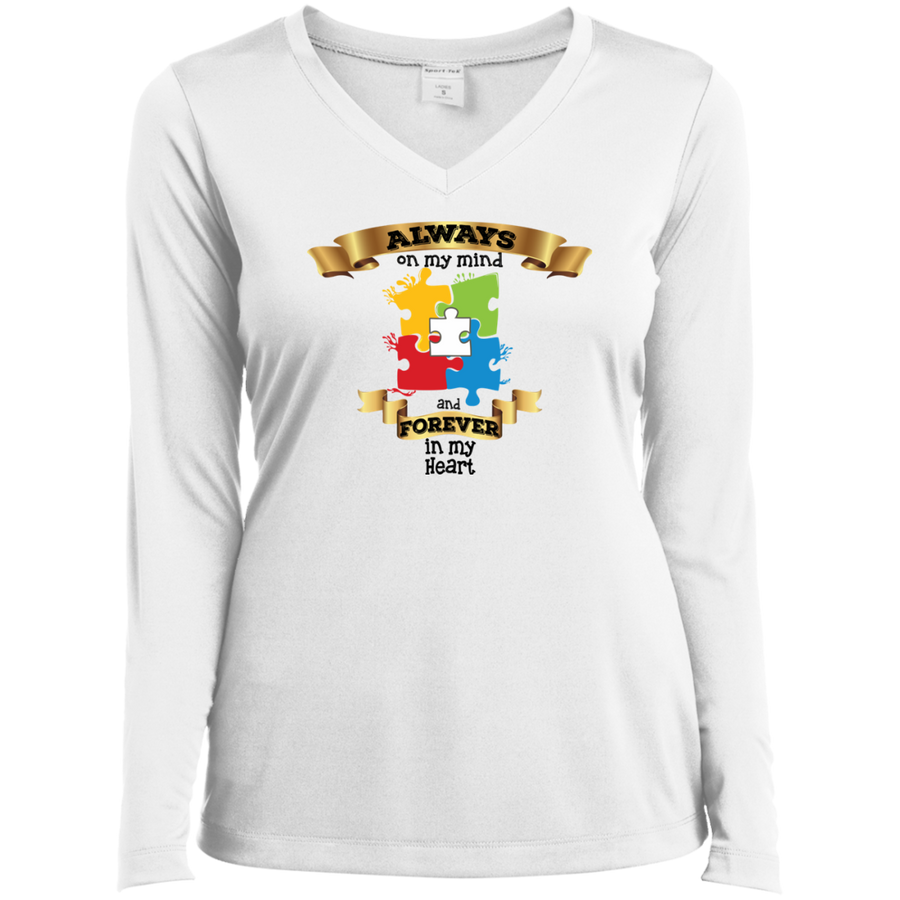 Always on my Mind Forever in my Heart Ladies' LS Performance V-Neck T-Shirt - Autism
