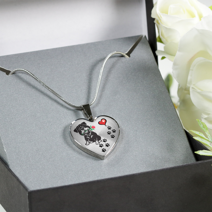 Awesome Rottweiler with Rose Paw Prints Leading To Your Heart Adjustable Luxury Necklace or Bangle