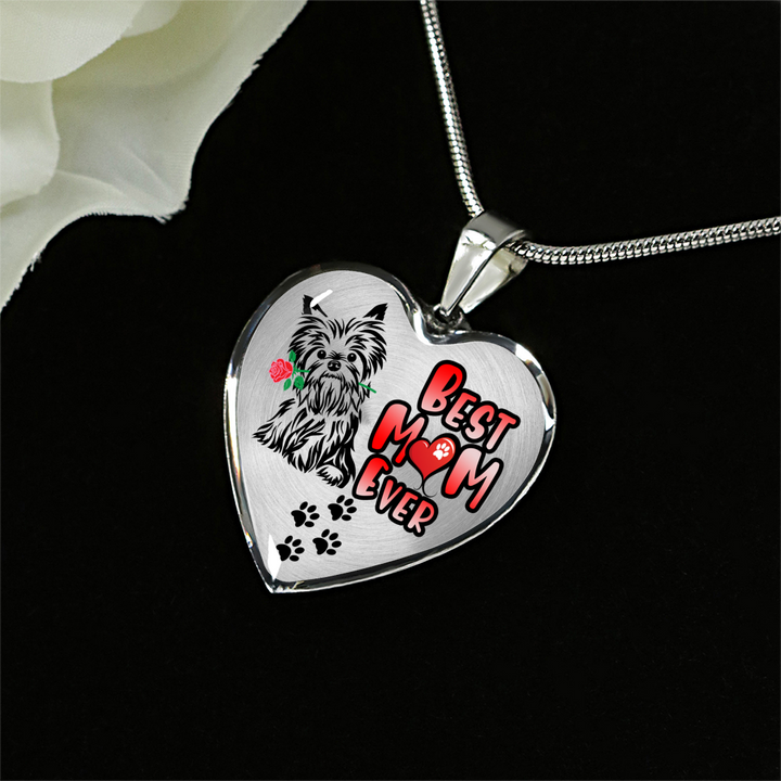 Yorkie - Best Mom Ever - with Rose and Paw Prints - Luxury Adjustable Necklace or Bangle - Yorkshire Terrier