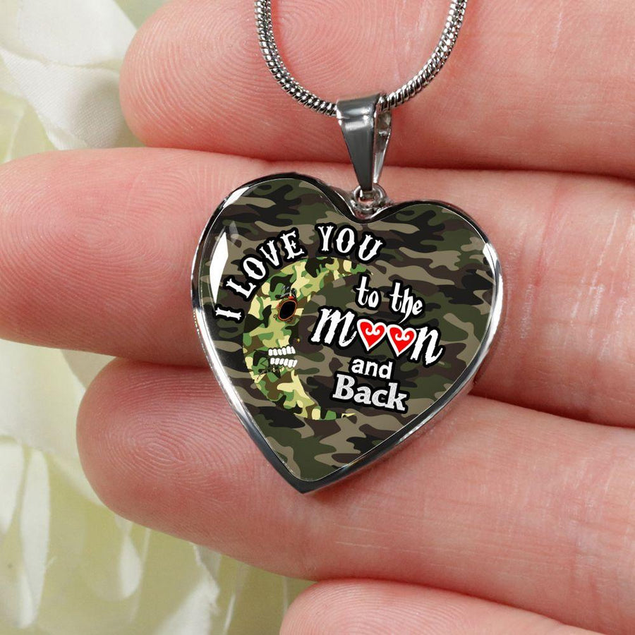 I love You to the Moon and Back with Camo Moon and Camo Background - Luxury Adjustable Necklace or Bangle