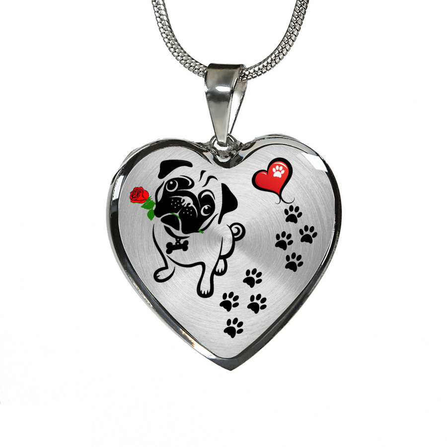 Awesome Pug with Rose and Paw Prints Leading To Your Heart Adjustable Luxury Necklace or Bangle
