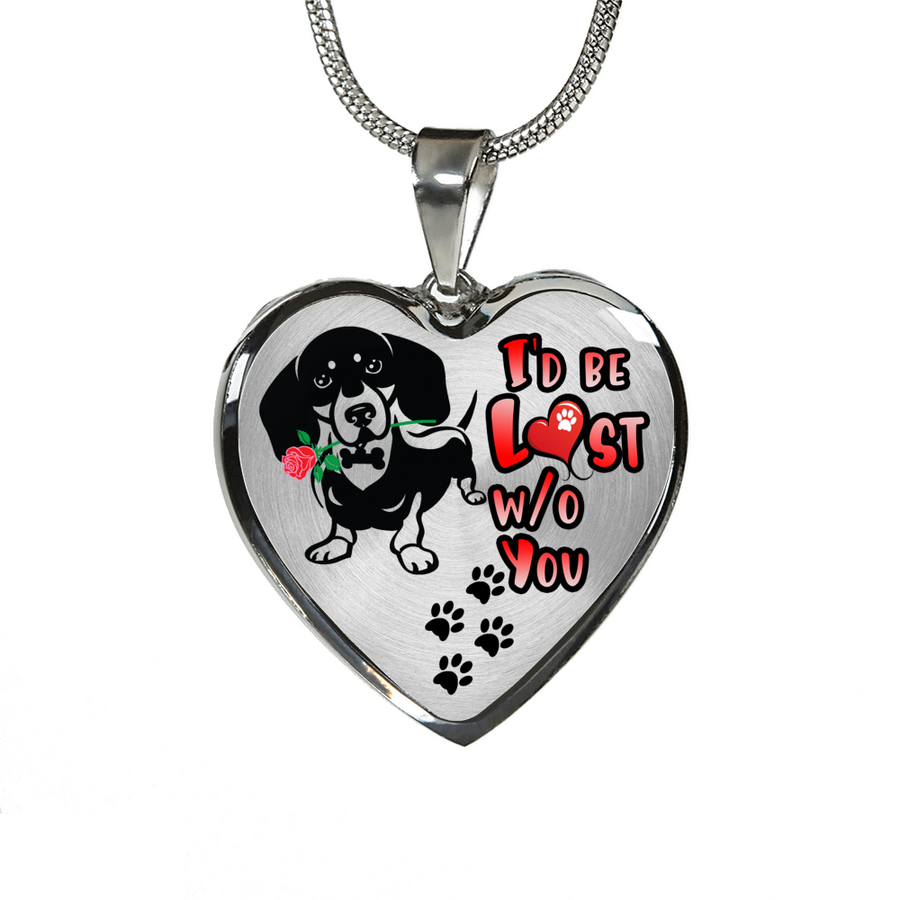 Dachshund - I'd Be Lost without You - With Rose and Paw Prints - Luxury Adjustable Necklace or Bangle