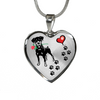 Awesome Doberman with Rose and Paw Prints Leading To Your Heart Adjustable Luxury Necklace or Bangle