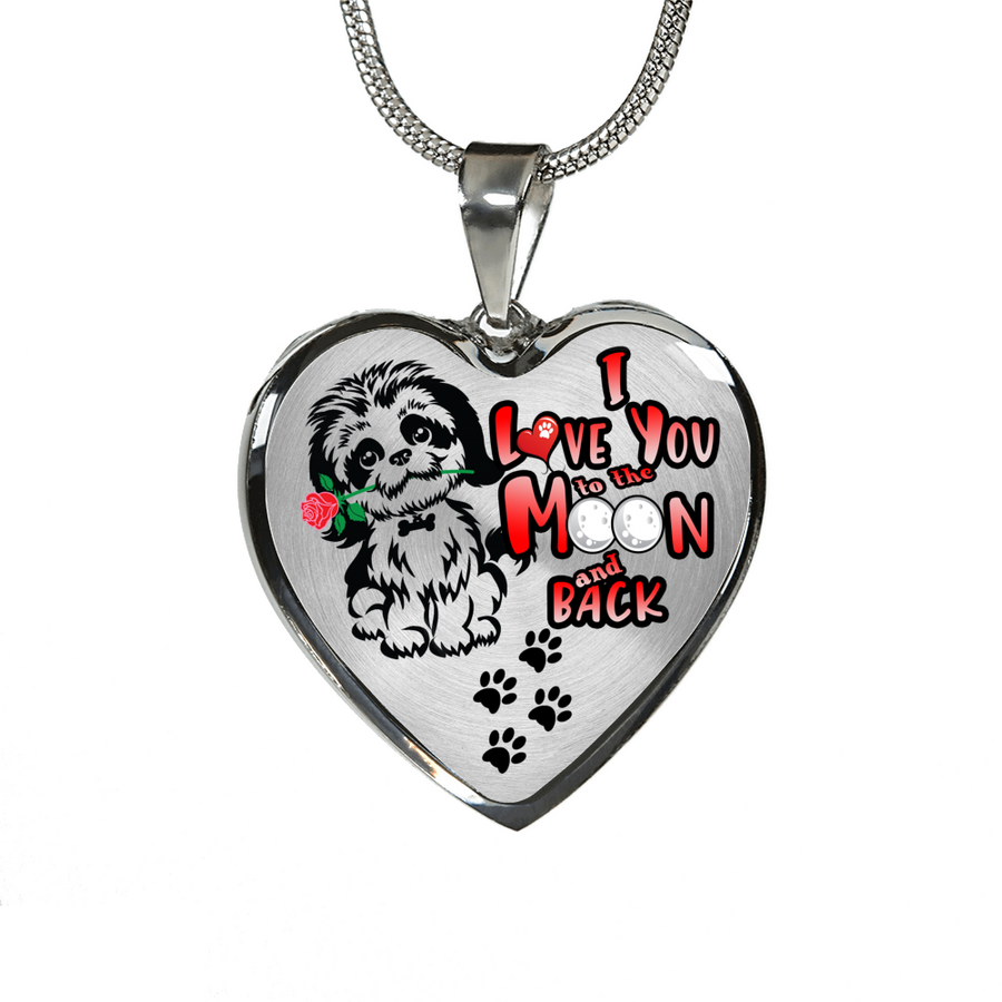 Shih Tzu - I Love You to the Moon and Back - with Rose and Paw Prints - Heart Luxury Adjustable Necklace or Bangle