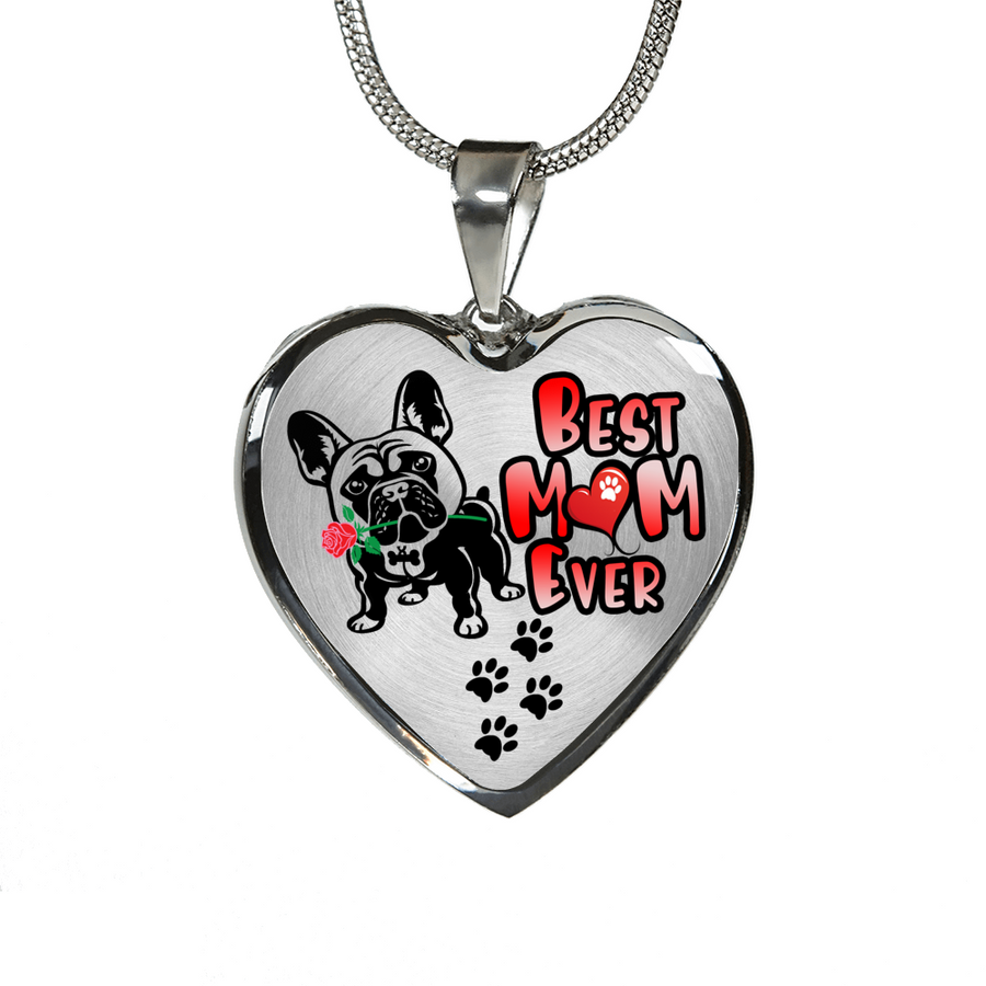 French Bulldog - Best Mom Ever - With Rose and Paw Prints - Luxury Adjustable Necklace or Bangle