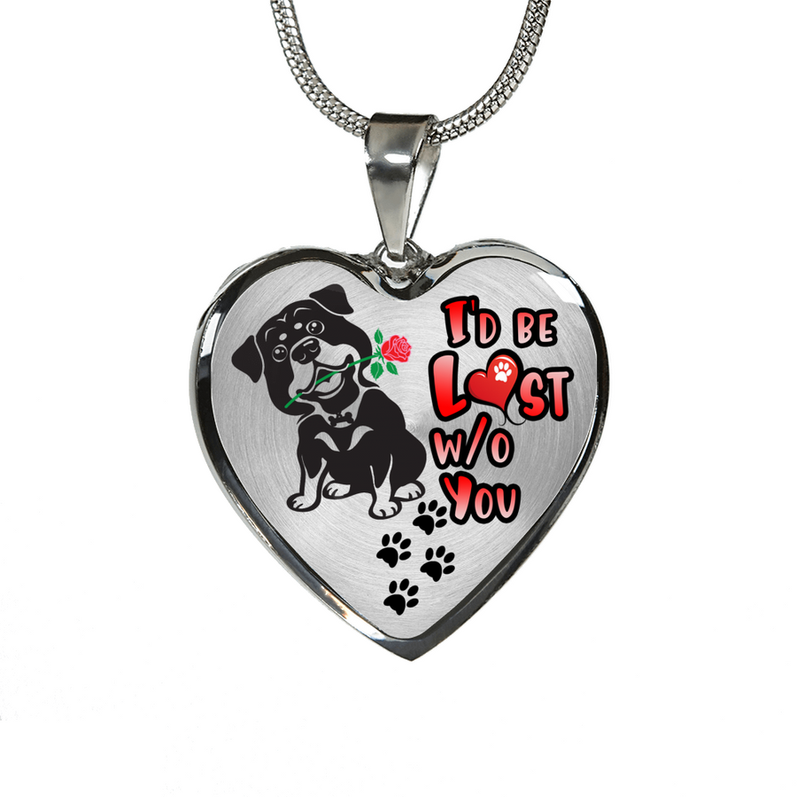 Rottweiler - I'd Be Lost without You - With Rose and Paw Prints - Luxury Adjustable Necklace or Bangle