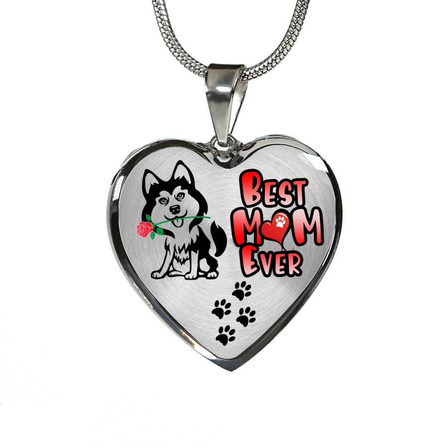 Awesome Husky - Best Mom Ever - with Rose and Paw Prints Leading to your Heart - Luxury Adjustable Necklace or Bangle