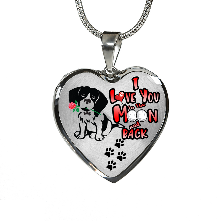 Beagle - I Love You To The Moon and Back - With Rose and Paw Prints - Luxury Adjustable Necklace or Bangle