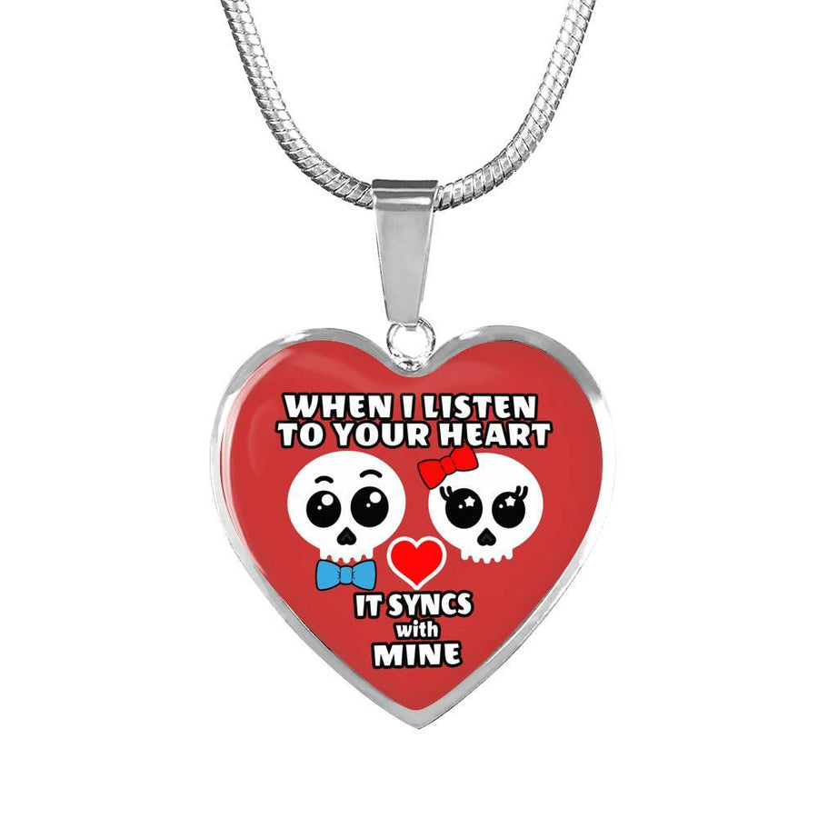 When I Listen To Your Heart, It Syncs With Mine - Cute Skulls - Luxury Adjustable Necklace Or Bangle
