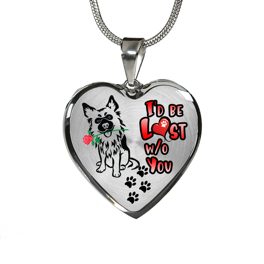German Shepherd - I'd Be Lost without You - with Rose & Paw Prints - Luxury Adjustable Necklace and Bangle
