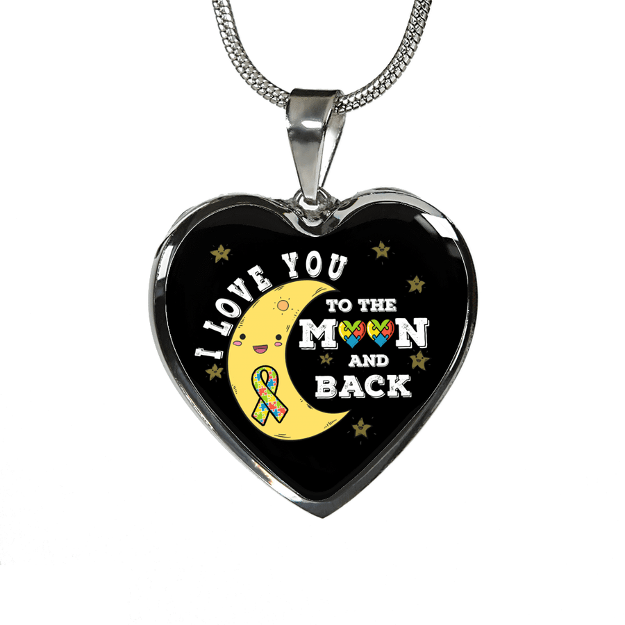 I Love You to the Moon and Back with Autism Colorful Puzzle Ribbon and Puzzle Heart Luxury Adjustable Necklace or Bangle